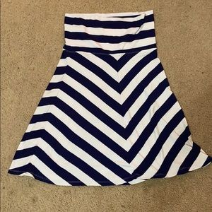 White and navy striped skirt